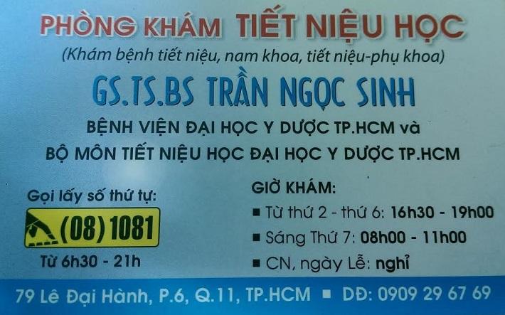 Bác sĩ chuyên khoa thận giỏi ở TPHCM - Phòng Khám GS.TS.BS Trần Ngọc Sinh